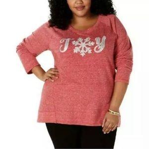 Style & Co. Joy Glitter Christmas Sweatshirt 1X